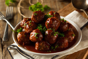 Bar-B-Que Meatballs served on a plate