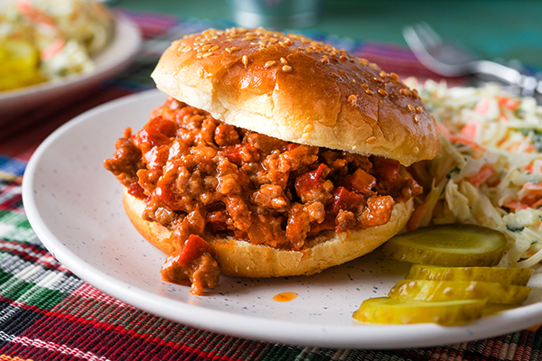 Bison Sloppy Joes on a white plate