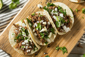 Shredded Bison Chipotle Tacos on a cutting board