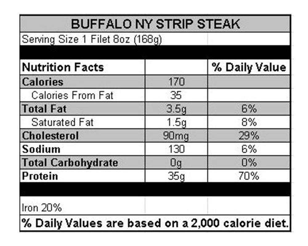 Bison New York Strip Steak 6-10 oz (6 count)