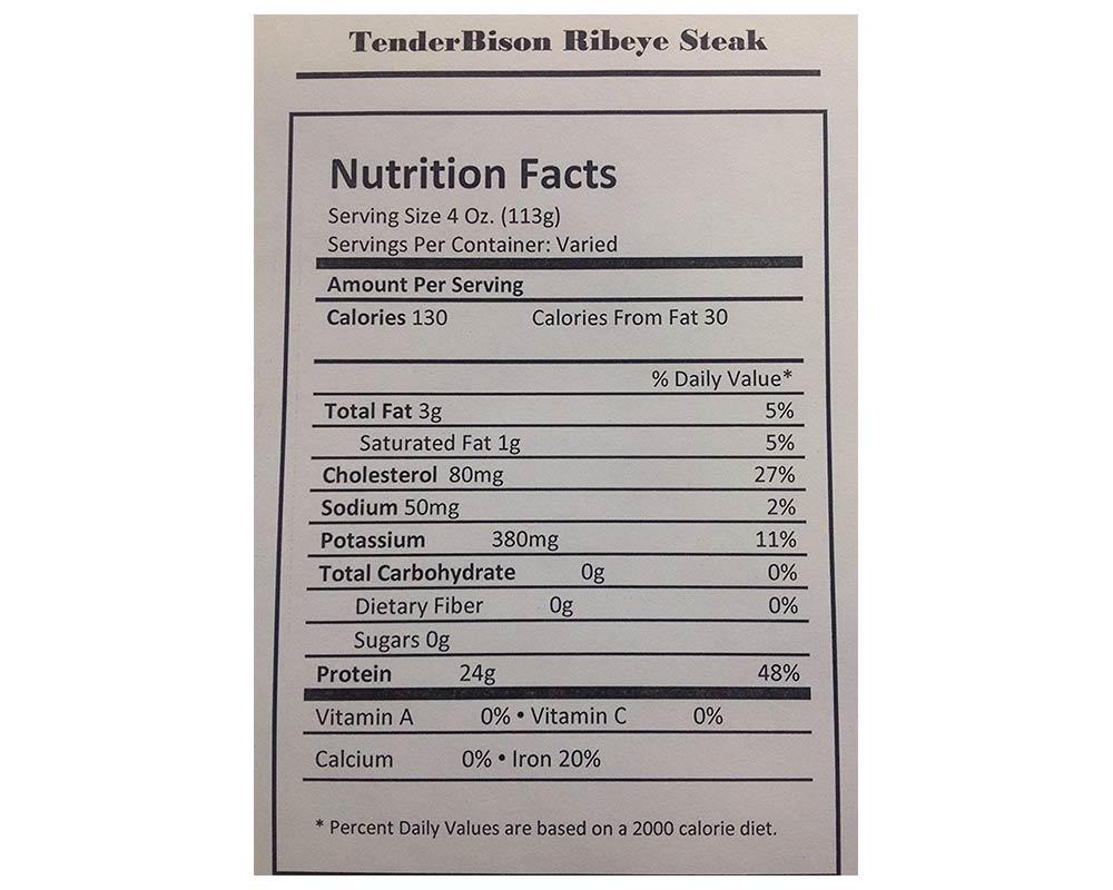Bison Ribeye Steaks - Case of 6 (8-11oz. each)