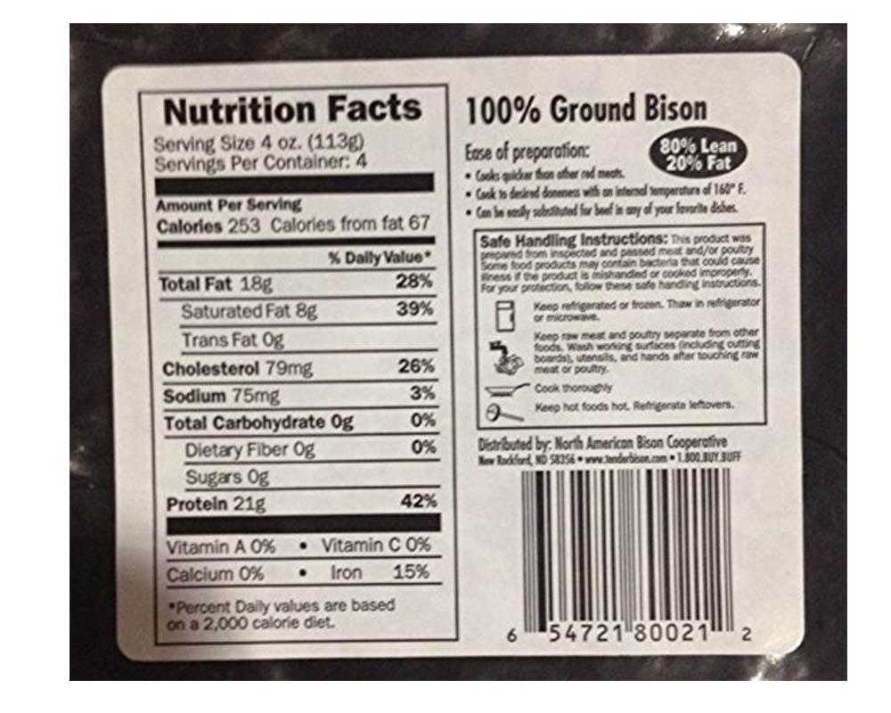 Ground Bison 80% Lean 16 oz (12 count)
