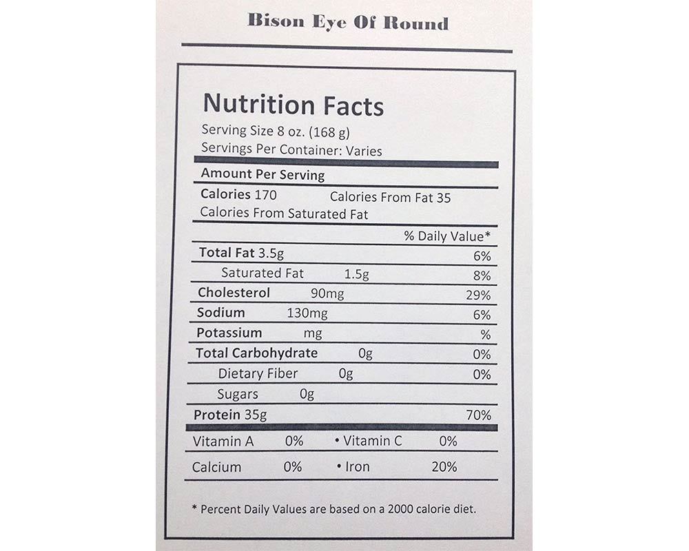Eye of Round Bison Roast 4 lbs